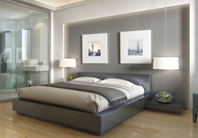 Modern hotel room with large bed, contemporary style with elements of art Deco. Decorative niche in the wall with lighting and glass bathroom. 3D render